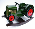 green rocking tractor for children